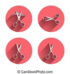Scissors icons. Hairdresser or barbershop symbol