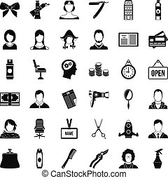 Scissors icons set, simple style