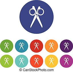 Scissors icons set vector color