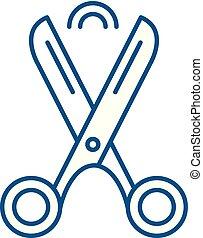 Scissors line icon concept. Scissors flat vector symbol, sign, outline illustration.