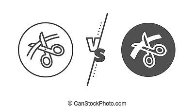 Scissors line icon. Cutting ribbon sign. Tailor utensil. Vector