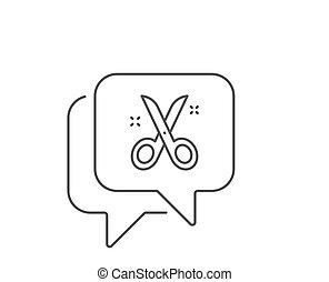 Scissors line icon. Cutting tool sign. Tailor utensil. Vector