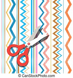 Scissors on Textile Background. Abstract Vector Oriental Backdrop.