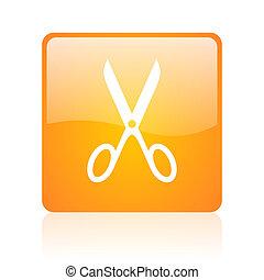 scissors orange square glossy web icon