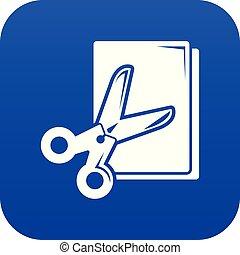Scissors paper icon blue vector