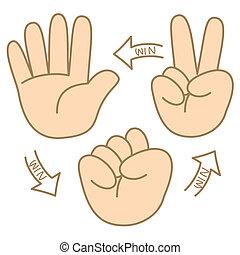 scissors paper rock cartoon how to play
