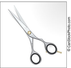 Realistic steel scissors with gold detail on white