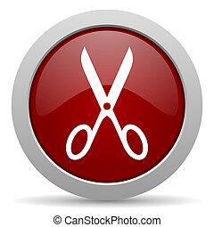 scissors red glossy web icon