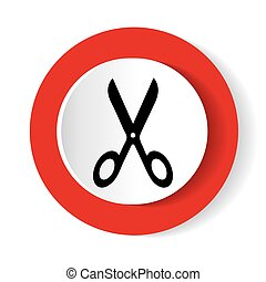 scissors red round glossy modern design web icon