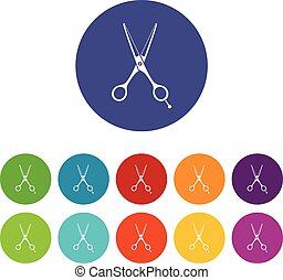 Scissors set icons