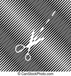Scissors sign illustration. Vector. Icon. Hole in moire backgrou