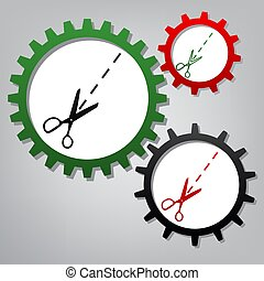 Scissors sign illustration. Vector. Three connected gears with i