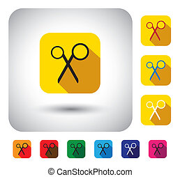 scissors sign on button - flat design vector icon