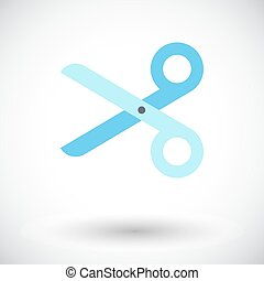 Scissors. Single flat icon on white background. Vector...
