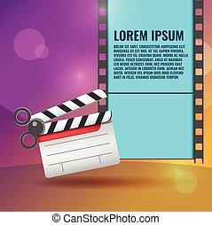 Scissors Slate Film Entertainment Background Vector