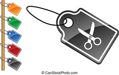 scissors tags.