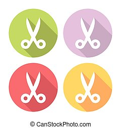 Scissors Tool Flat Icons Set