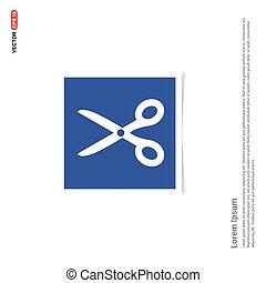 Scissors tool icon - Blue photo Frame