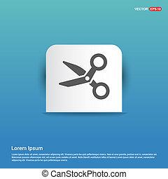 Scissors tool icon - Blue Sticker button