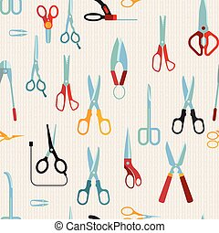 Scissors vector seamless pattern
