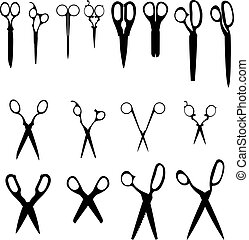 Scissors vector silhouettes - Detailed vector illustrations...