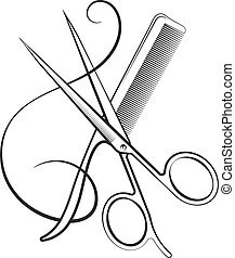 Scissors with comb and hair curl silhouette for beauty salon