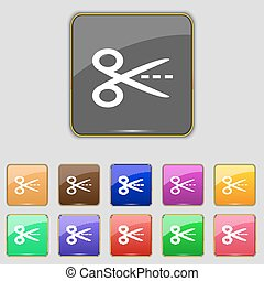 Scissors with cut dash dotted line sign icon. Tailor symbol. Set of colored buttons. Vector