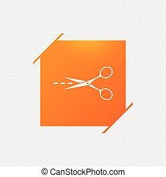 Scissors with cut line sign icon. Tailor symbol.