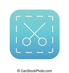 Scissors with dotted lines line icon.