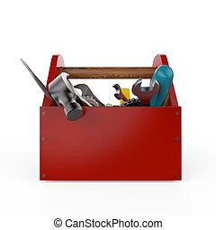 sckrewdriver, tools., premia, młot, isolated., zbudowanie, pod, wrench., wysoki, mocować, handsaw, utrzymanie, service., render, skrzynka na narzędzia, jakość, naprawa, czerwony