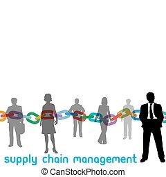 scm, 管理, 鎖, 供給, 人々, マネージャー, 企業