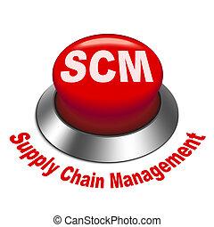 scm, amministrazione, catena, fornitura, ), (, bottone, illustrazione, 3d