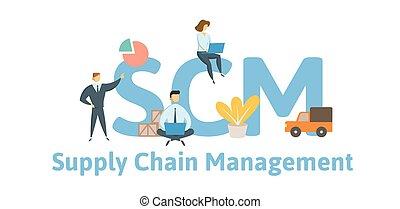 scm, appartamento, concetto, illustration., catena, fornitura, -, lettere, icons., isolato, fondo., vettore, keywords, bianco, management.