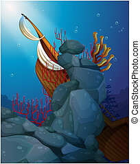 scogliere, legno, mare corallo, sotto, barca