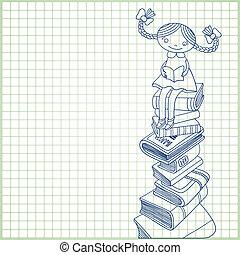 scolara, libri, mucchio, seduta