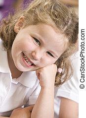 scolara, seduta, classe, primario