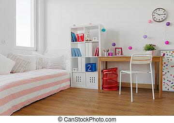 scolara, stanza, bellezza