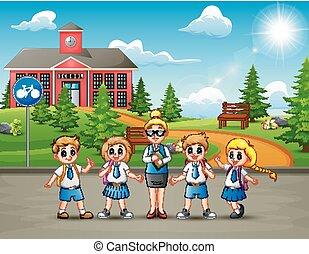 scolari, strada, felice