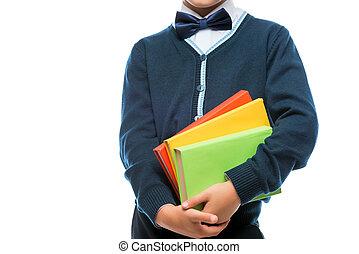 scolaro, bianco, libri, fondo, uniforme