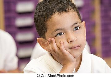 scolaro, primario, classe, seduta