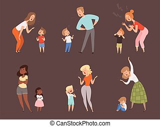 Scold children. Kids crying parents father and mother sad expression reaction vector cartoon characters