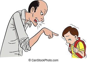 Scolding - Illustration of father scolding his son