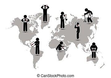 scoliosis, sjukvård, (, värld, övervaka, karta, tuberkulos, :show, cervical, spondylosis, )(, spondylolisthesis, käpp, hålla, skelett, ledinflammation, lumbal, världsomfattande, man, pulmonary, avskärma, ), slag, begrepp