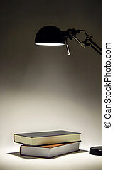 sconce, illuminante, due, libri