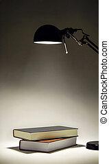 Sconce illuminating two books