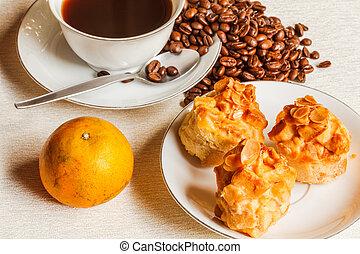 scone, pão, com, café