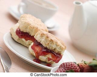 scones, jam, clotted, room, en, aardbeien, met, namiddag...