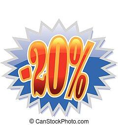 scontare, 20%, etichetta