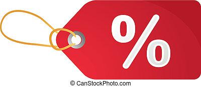 scontare, etichetta, percento