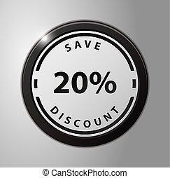 scontare, risparmiare, 20%